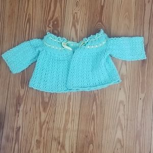 Vintage Handmade Green Cardigan Crochet Baby 9 mon
